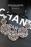 Free Shipping New fashion Silver Black Flash of rose necklace