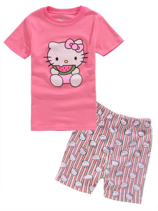 Cartoon Hello Kitty pyjamas Baby Girl pajama sets Summer homewear Casual sleepwear Child clothing wear 6sets/lot(China (Mainland))