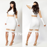 Free Shipping LC21256 New Sheer Mesh Patchwork Stunning Long Sleeve Solid Color Cheap Party Dress Club Midi Bandage Dresses