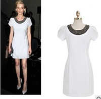 2014 European and American Lady Dress Overseas Purchasing Brand New Summer Puff Short-Sleeve Solid Color Beaded Dress Slim 6207