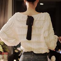 2013 New Promotions Hot Trendy Cozy Women Shirt Wild Slim Fashion Blouse Chiffon Lace Bow Crochet Sweet lantern sleeve blouse