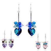 New 2014 High-end jewelry - Austrian Crystal - beautiful heart-shaped leaf clover earrings - the deep blue sea earrings