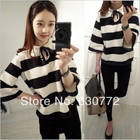 New spring 2014 European Grand Prix latest Korean women students loose primer shirt striped short-sleeved t-shirt women