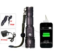 Zoomable CREE XM-L T6 1800 Lumen LED 18650 Flashlight Torch Zoom Lamp Light can charging by usb charger