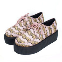 2014 New Spring Women Jelly Creepers flat shoes Lemon Shoelace PU Leather Platform Canvas Punk Pink Shoes