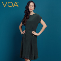 Voa heavy silk one-piece dress female short-sleeve 2014 spring and summer silk elegant mulberry silk sheds a0298