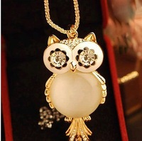 New 2014 hot sale Fashion jewelry Cute big opal owl pendant necklace long chain free shipping D7