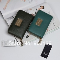 AN*NE KL*EIN Ak spring candy color litchi cowhide wallet clutch genuine leather iphone bag