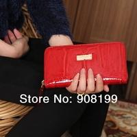 Kate Sp**de cowhide japanned Genuine leather stone pattern wallet clutch red blue black