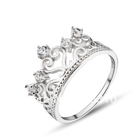 GNJ0518 New arrival Exquisite Women's Crystal crown ring 925 Sterling silver Jewelry ring wedding accessories free shipping