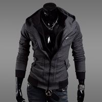 2014 New Spring new free shipping men Korean brocade hit color mosaic hooded slim Jacket Blazer Szie:M-XXL 3 Colors