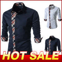Spring 2014 Men Long-Sleeve Shirt Slim Casual Dress Men's Clothing Fashion Plaid splicing Designer Cotton Shirts Camisas X145