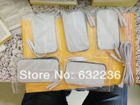 freeshipping 10pcs/lot9*5CM Self Adhesive Large Electrodes pad +1pc DC 2.5MM 2 in 1 Head electrode wires /cable