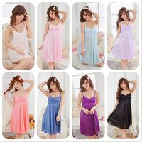 New 2014 Fashion Sexy Hot Women Nightdress Sleepwear Lace Dress Erotic Lingerie Set Kimono Costumes 7 Colors A3740
