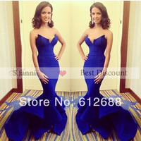 2014 Shining Blue Sweetheart Mermaid Ruched Tail Lovely Beauty Wear Zipper Back New Arrival Prom Dresses