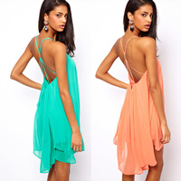 2014 Women summer Chiffon one-piece dress spaghetti strap back metal buckle cross cutout sleeveless solid color haoduoyi FE41