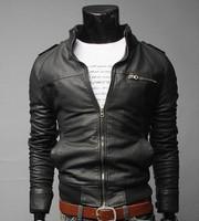 Free shipping 2014 New Fashion transverse zipper short slim Leather Men leisure washed locomotive collar PU size:M-XXXL 3 Color