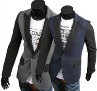 Hot-selling male cloth color block decoration fashion slim blazer x21