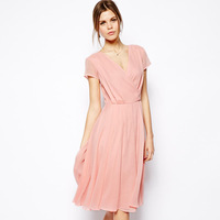 Women's Dress The anteroposterior V collar pleated slim Pink short-sleeve chiffon one-piece dress