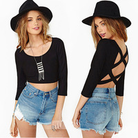 2014 new foreign trade in Europe and America nightclub sexy back cross Tops T-shirts wholesale blouses