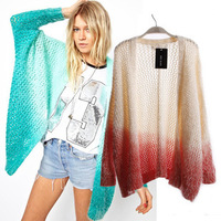 2014 new fashion women Long Sleeve Cascading Open Front Cardigan Oversized Sweater mohair Knitted