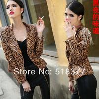 Spring 2014 Leopard print tassel rivet epaulette short design shoulder pads slim leather Woman  leather jacket  punk style
