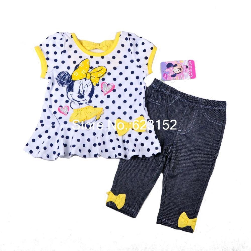 FRETE GRÁTIS Meninas Dot Vestido amarelo Crianças Minnie Mouse Dress & Denim Legging Minnie roupas para crianças vestido da menina 6sets / lot(China (Mainland))