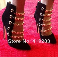 Big Stock Cheap Black Nude Pointed-Toe High Heels Sandals With Gold Chains Punk Style Women Shoes Big Size 10
