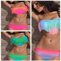 2014 VS sexy usa secret neon Pad No push up swimsuit the bathing suit  monokinis bandage bikini swimwear swimming Tassel yy008