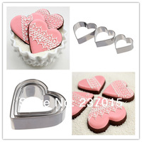 3pcs Stainless Steel Heart Love Shape Fondant Cake Decorating Baking Tool Metal Mould