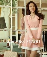 New 2014 Fashion Institute of wind Slim sweet flounced chiffon dress Free Shipping       q3222