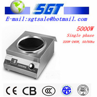 5000W commercial induction wok cooktop for restaurant kitchen use