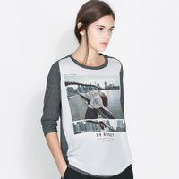 Women's T-Shirts Patchwork print o-neck  three quarter female t-shirt