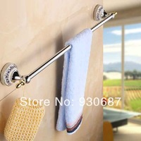 NEW Euro Chrome Soild Brass Bathroom Towel Bar Wall Mount Single Towel Rack