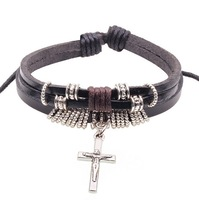 2014 New High Quality 3pcs Bracelet multilayer for men Vintage cross Charm Woven Leather Bracelets & Bangles Dropshipping W2109