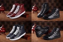 2014 quente sapatos italianos nome fashion marca sapatilhas dos homens de couro superiores altas botas flats rendas até sapatos(China (Mainland))