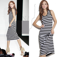 Free Shipping European Women Bohemia Long Beach Dress Black and White Stripe Low Round Neck Sleeveless Summer Dress Maxiskit