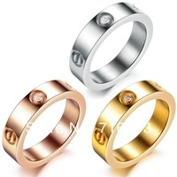 Free Shipping 3 colors Titanium steel Mens Womens plating Crystal Stone Stainless Steel Rings Screw Love Brand Finger Ring