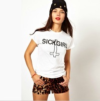 2014 New Women Fashion Punk Style SICK GIRL Cross Print Rock T shirt, white, xs s m l xl xxl,KL024