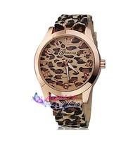 Women Geneva Leopard watch Quartz rubber Ladies dress watch vintage gold jelly Wristwatches relogio feminino sport reloj mujer