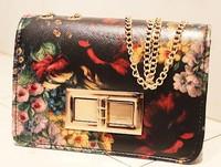 New 2014 korean women's vintage flower oil painting chain bag cross-body handbags messenger bags purse clutch free shipping