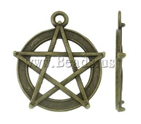 Free shipping!!!Zinc Alloy Star Pendant,Christmas Gift, antique bronze color plated, nickel, lead & cadmium free, 27x30x3mm