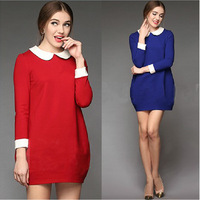 Big Spring autumn and winter Ladies European leg doll collar dress code 5 big size L-4XL 3 color