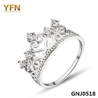 GNJ0518 Hot sale Princess Crown Ring Fashion 925 Sterling Silver Jewelry CZ Wedding Rings Christmas Gift for Women Free Shipping