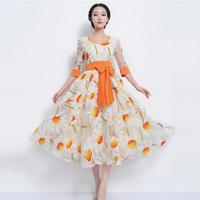 2014 New Fashion daisy embroidery half sleeve Chiffon dress,cute print long sex dress with Bowknot belt,Bohemia organza dress