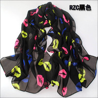 2014 New Fashion Design Chiffon Scarf Sexy Colorful Lips Printed Women's Long  Scarves Shawl 160*70cm