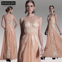 ems dhl free shipping %DORISQUEEN free shipping a line floor length jewel lace pleat evening gowns