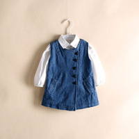 Wholesale 5pcs/lot light wash denim girl dress summer sleeveless children dress with flower belt good quality