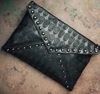 New 2014  Korean women's handbags skeleton rivet retro envelope bag Messenger bags shoulder bags  purse clutch free shipping