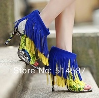 New Arrival Sexy Tassel Ankle Booty High Heels Open Toe Python High Heels Dress Shoes Plus Size 10